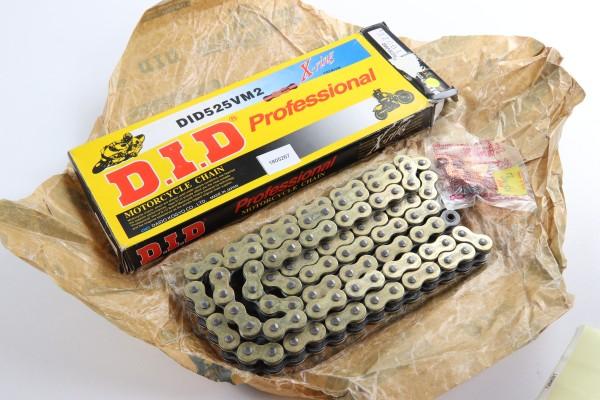 DID Kette 525ZVM2 100 Glieder offen + Nietschloss Gold/Schwarz
