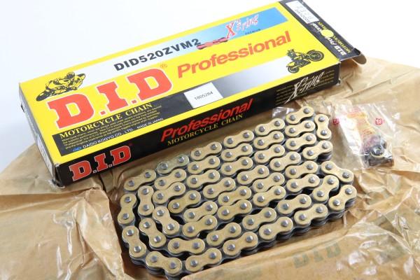 DID Kette 520 ZVM2 94 Glieder gold/schwarz endlos + Nietschloss